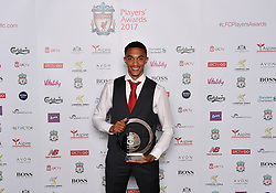 LIVERPOOL, ENGLAND - Tuesday, May 9, 2017: Liverpool's Trent Alexander-Arnold wins the Young Player of the Season 2017 Award sponsored by Vitality at the Liverpool FC Players' Awards 2017 at Anfield. (Pic by Andrew Powell/Liverpool FC/Pool/Propaganda)