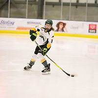 2nd year forward Sam Geekie (15) of the Regina Cougars in action during the Women's Hockey home game on November 17 at Co-operators arena. Credit: Arthur Ward/Arthur Images