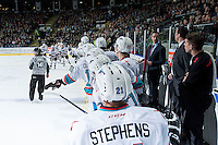 KELOWNA, CANADA - DECEMBER 30: The Kelowna Rockets celebrate a goal against the Everett Silvertips on December 30, 2015 at Prospera Place in Kelowna, British Columbia, Canada.  (Photo by Marissa Baecker/Shoot the Breeze)  *** Local Caption *** goal;