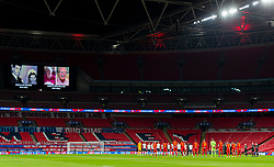 LONDON, ENGLAND - Thursday, October 8, 2020: England and Wales players stand for a moment's reflection before the International Friendly match between England and Wales at Wembley Stadium. The game was played behind closed doors due to the UK Government's social distancing laws prohibiting supporters from attending events inside stadiums as a result of the Coronavirus Pandemic. England won 3-0. (Pic by David Rawcliffe/Propaganda)