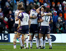 Scotland's Sean Maitland (second right) celebrates with team-mates after the NatWest 6 Nations match at BT Murrayfield, Edinburgh.