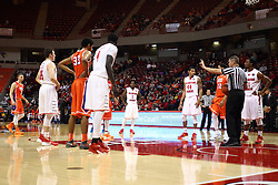 21 November 2015: Ryan Odneal prepares a shooter for a pair of free-throws. Illinois State Redbirds host the Houston Baptist Huskies at Redbird Arena in Normal Illinois (Photo by Alan Look)