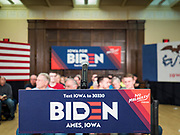 """04 DECEMBER 2019 - AMES, IOWA:  Former Vice President Joe Biden's podium and the stage at his campaign event in Ames, Wednesday. Vice President Biden is touring Iowa this week on his """"No Malarkey"""" bus tour. He spoke at Iowa State University. Iowa hosts the first presidential selection event of the 2020 election cycle. The Iowa caucuses are on February 3, 2020.       PHOTO BY JACK KURTZ"""