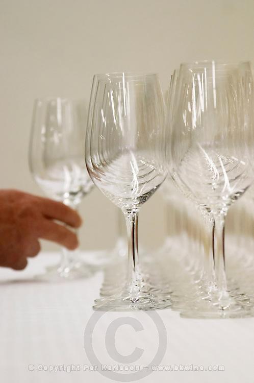 Trade wine tasting UGC Union des Grands Crus, Bordeaux. Wine tasting. Wine glasses. Bordeaux, France