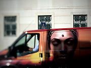 A van from a local brand of coffe passing Rua da Escola Politécnica.This photograph is part of a body of work about Lisbon, feelings, affections and loneliness. Is about a city depressed by the crisis, but even so, tolerant and cosmopolitan. This part of Lisbon, the old town, with his deep character, where local people meets foreigners and alternative ways of life mixes with shamefaced poverty, is sublime by its peculiar light.
