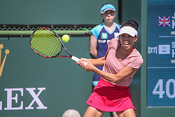 March 8, 2019 - Indian Wells, CA, U.S. - INDIAN WELLS, CA - MARCH 08: Su-Wei Hsieh (TPE) hits a backhand during the BNP Paribas Open on March 7, 2019 at Indian Wells Tennis Garden in Indian Wells, CA. (Photo by George Walker/Icon Sportswire) (Credit Image: © George Walker/Icon SMI via ZUMA Press)