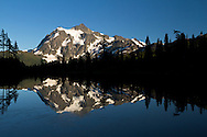 Picture Lake and Mount Shuksan at the Mount Baker-Snoqualmie National Forest in Washington State, USA