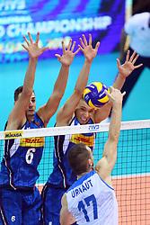 SIMONE GIANNELLI E DANIELE MAZZONE A MURO<br /> <br /> Italy vs Slovenia<br /> Volleyball men's world championship <br /> Florence September 18, 2018