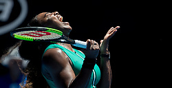 January 23, 2019 - Melbourne, Australia - Serena Williams reacts during the women's singles quarterfinal match between Serena Williams of the United States and Karolina Pliskova of the Czech Republic at the 2019 Australian Open in Melbourne. Karolina Pliskova won 2-1. (Credit Image: © Xinhua via ZUMA Wire)