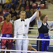 2. WOMEN'S WORLD BOXING CHAMPIONSHIPS.<br /> Denmark's Bettina KARSLEN  winner with Davis Janaya (L). Dilek Sabanci Sport Hall Antalya/Turkey<br /> Photo by Aykut AKICI/TurkSporFoto