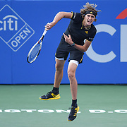 ALEXANDER ZVEREV hits a serve during his semifinal match at the Citi Open at the Rock Creek Park Tennis Center in Washington, D.C.