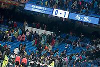 Scoreboard after La Liga match between Real Madrid and Villarreal CF at Santiago Bernabeu in Madrid, Spain. January 13, 2018. (ALTERPHOTOS/Borja B.Hojas)