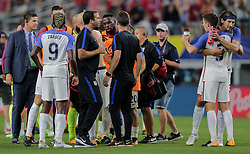 July 22, 2017 - Arlington, TX, USA - Arlington, TX - Saturday July 22, 2017: USMNT celebrate their victory during a 2017 Gold Cup Semifinal match between the men's national teams of the United States (USA) and Costa Rica (CRC) at AT&T stadium. (Credit Image: © John Dorton/ISIPhotos via ZUMA Wire)