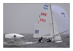 470 Class European Championships Largs - Day 2.Wet and Windy Racing in grey conditions on the Clyde...GRE1, Antonis TSIMPOUKELIS, Pavlos KAGIALIS .