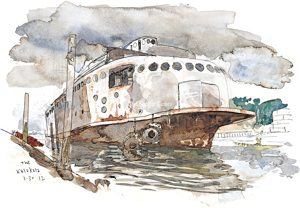 Historic Kalakala ferry from the 1930s moored in an industrial waterway in Tacoma after retirement. <br /> <br /> Gabriel Campanario / The Seattle Times
