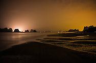 Golden sky over Van Don island, Quang Ninh Province, Vietnam, Southeast Asia