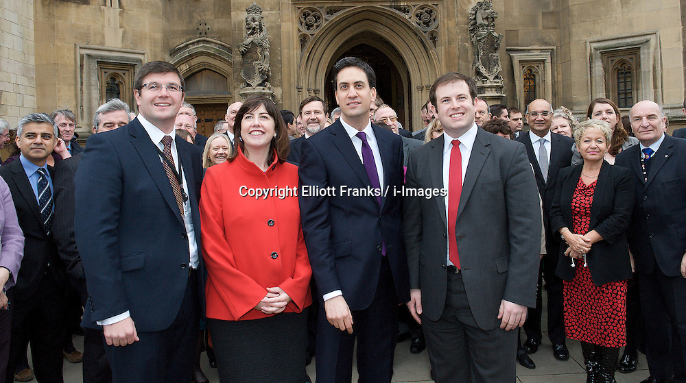 Newest Labour MP's arrive at the House of Commons. (L to R) Andy Sawford MP, Lucy Powell MP, Ed Miliband MP, Leader of the Labour party and Stephen Doughty MP, outside St Stephen's Gate, November 19, 2012. Westminster, London, Great Britain. Photo by Elliott Franks / i-Images.