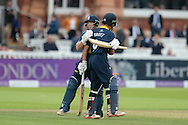 Tim Ambrose & Jonathan Trott embrace as Warwickshire beat Surrey to win the 2016 Royal london One Day Cup during the Royal London One Day Cup match between Warwickshire County Cricket Club and Surrey County Cricket Club at Lord's Cricket Ground, St John's Wood, United Kingdom on 17 September 2016. Photo by David Vokes.
