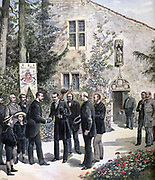 Grand Duke Constantine of Russia visiting the house of Joan of Arc at Domremy, France. St Joan or The Maid of Orleans (1412-1431) French national heroine. From 'Le Petit Journal', Paris, 15 June 1892.