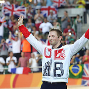 Track Cycling - Olympics: Day 11  Jason Kenny of Great Britain on the podium after his gold medal ride in the Men's Keirin during the track cycling competition at the Rio Olympic Velodrome August 16, 2016 in Rio de Janeiro, Brazil. (Photo by Tim Clayton/Corbis via Getty Images)