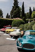 Como, Italy, Concorso d'Eleganza Villa D'Este, from left Lamborghini Miura P 400 SV and Iso Griflo GL 350, Fiat 500 Spiaggia, Fiat 8 V