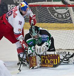 08.03.2011, Volksgarten, Salzburg, AUT, EBEL, EC Red Bull Salzburg vs HDD TILIA Olimpija Ljubljana, im Bild Georg Waldhauser , (EC Red Bull Salzburg, (# 18) vs Matija Pintaric, (HDD TILIA Olimpija Ljubljana, (# 69) // during the Eishockey Erste Bank Playoff Match between EC Red Bull Salzburg vs HDD TILIA Olimpija Ljubljana on 08/03/2011, EXPA Pictures © 2011, PhotoCredit: EXPA/ J. Feichter
