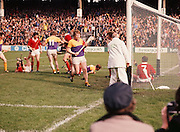 The Cork goalmouth is littered with players on the floor as Wexford score another goal during the All Ireland Senior Hurling Final, Cork v Wexford in Croke Park on the 4th September 1977. Cork 1-17 Wexford 3-8.