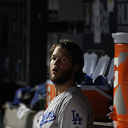 Pitcher Clayton Kershaw, Los Angeles Dodgers, in the dugout between innings while pitching during the New York Mets Vs Los Angeles Dodgers, game four of the NL Division Series at Citi Field, Queens, New York. USA. 13th October 2015. Photo Tim Clayton