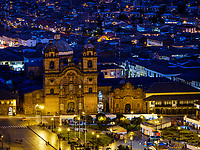 CUSCO, PERU - CIRCA SEPTEMBER 2019:  Night view of the Plaza de Armas and Church in Cusco.