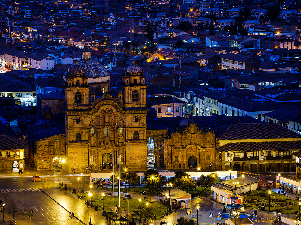 CUSCO, PERU - CIRCA SEPTEMBER 2019:  Night view of the Plaza de Armas and Church in Cusco.