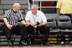 13 December 2015:  During a break in the action, Rick Randall chats with Murray State Sports Information Director Dave Winder.  Illinois State Redbirds host the Murray State Racers at Redbird Arena in Normal Illinois (Photo by Alan Look)