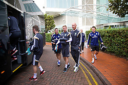 CARDIFF, WALES - Tuesday, October 7, 2014: Wales' Simon Church and James Collins depart the team hotel for a training session at Dragon Park National Football Development Centre ahead of the UEFA Euro 2016 qualifying match against Bosnia and Herzegovina. (Pic by David Rawcliffe/Propaganda)