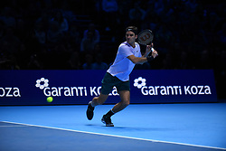November 12, 2017 - London, United Kingdom - Roger Federer of Switzerland plays the opening singles round robin match against Jack Sock of the USA during the Nitto ATP World Tour Finals at O2 Arena, London on November 12, 2017. (Credit Image: © Alberto Pezzali/NurPhoto via ZUMA Press)