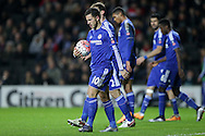Eden Hazard of Chelsea holds onto the ball as he walks to the spot and prepares to take a penalty. The Emirates FA cup, 4th round match, MK Dons v Chelsea at the Stadium MK in Milton Keynes on Sunday 31st January 2016.<br /> pic by John Patrick Fletcher, Andrew Orchard sports photography.