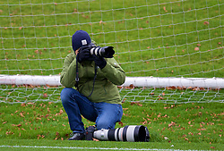 CARDIFF, WALES - Monday, November 19, 2018: Action Images photographer John Sibley during a training session at the Vale Resort ahead of the International Friendly match between Albania and Wales. (Pic by David Rawcliffe/Propaganda)