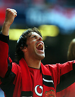 Ruud Van Nistelrooy Manchester United celebrates after final whistle<br />Manchester United v Millwall F/A Cup Final 22/05/04<br />Photo Robin Parker Fotosports International
