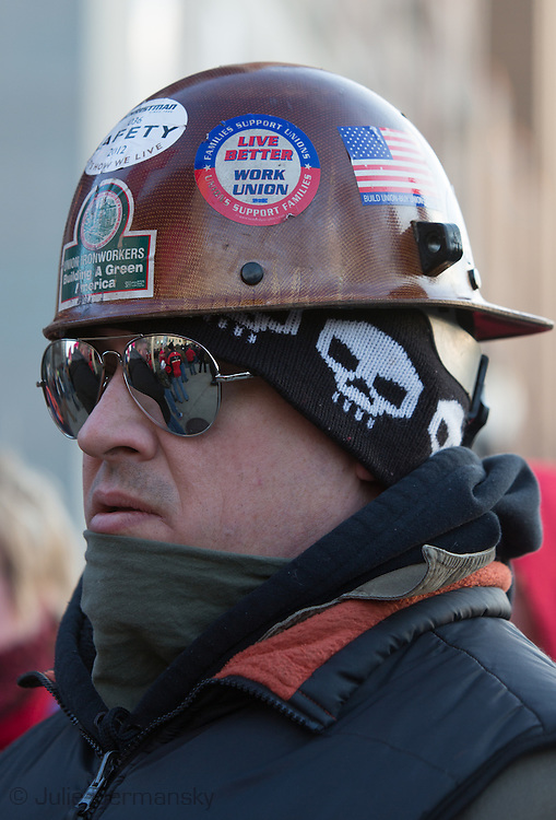 Corey Hake, iron worker in local 25 Union at protest against the RIght to Work Law at the MI state Captiol