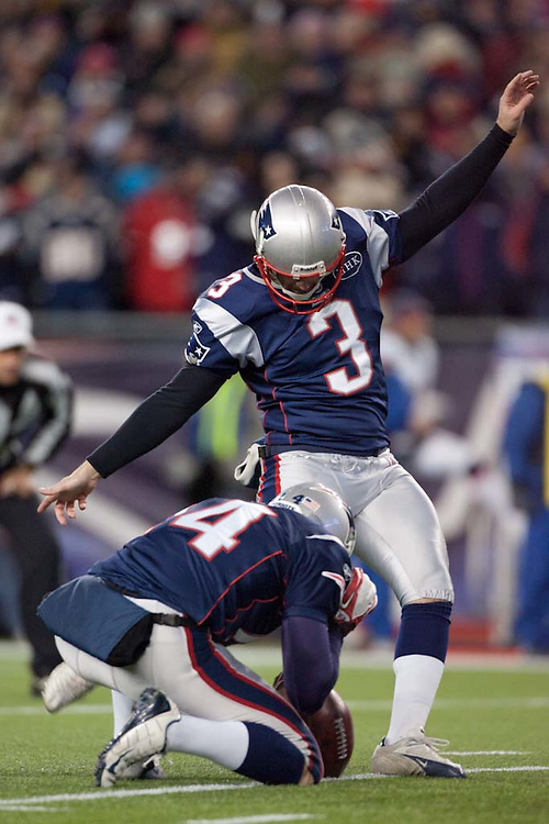 Foxborough, MA 01/14/2012.Patriots kicker Stephen Gostkowski kicks an extra point in the firs half of Saturday's AFC Divisional game between the New England Patriots and the Denver Broncos..Wicked Local Photo by Alex Jones
