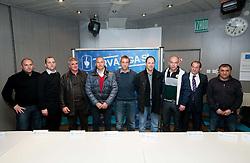 Coaches (from L): Sinisa Brkic, Damjan Romih, Bojan Prasnikar, Darko Milanic, Miran Srebrnic, Ante Simundza, Darko Birjukov,  Milivoj Bracun and Stanko Preradovic during press conference of 1st SNL PrvaLiga, on February 29, 2012 in Koper, Slovenia.  (Photo By Vid Ponikvar / Sportida.com)