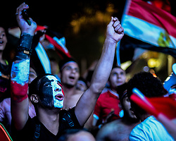 CAIRO, Oct. 9, 2017  Egyptians cheer as they watch a 2018 FIFA World Cup qualification match between Egypt and Congo, in Cairo, Egypt, on Oct. 8, 2017. Egypt won 2-1 on Sunday and secured its place in the FIFA World Cup finals in Russia. (Credit Image: © Str/Xinhua via ZUMA Wire)