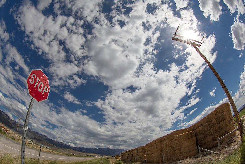 Hooibalen langs de kant van de weg bij het plaatsje Lund in Nevada.<br /> <br /> Hay bales near the road of the village Lund, Nevada.
