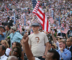 Delegate on the floor of the Democratic National Convention, Invesco Field at Mile High Stadium, Denver, Colorado, August 28, 2008.