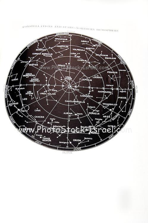 Northern Hemisphere star and constellation sky map