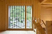 Modern house, wooden interiors open space