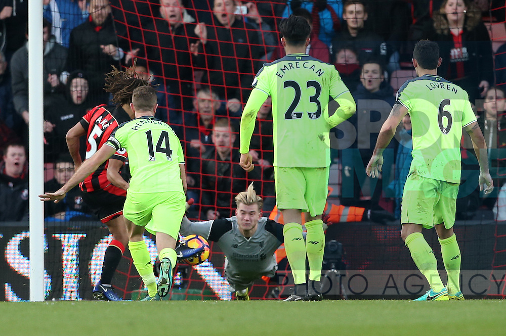 Bournemouth's Nathan Ake scoring his sides fourth goal during the Premier League match at the Vitality Stadium, London. Picture date December 4th, 2016 Pic David Klein/Sportimage