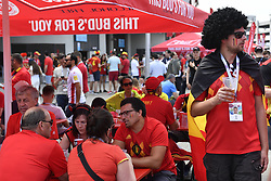 June 23, 2018 - Moscow, RUSSIA - Illustration shows  supporters outside the stadium ahead of the second game of Belgian national soccer team the Red Devils against Tunisia national team in the Spartak stadium, in Moscow, Russia, Saturday 23 June 2018. Belgium won its first group phase game. BELGA PHOTO DIRK WAEM (Credit Image: © Dirk Waem/Belga via ZUMA Press)