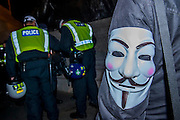 """The gathering in Trafalgar Square is pretty friendly but with a strong police presence and people wearing masks are pulled asside at randon as under public order rules it is now an offence - The Million Mask March - anti-establishment protesters in V for Vendetta-inspiredGuy Fawkes masks march from Trafalgar Square to Parliament Square. It was organised by Anonymous, the anarchic 'hacktivist' network. The movement is also closely identified with the Occupy protests, Wikileaks, and the Arab Spring. The UK Anonymouswebsitedescribes the march on Parliament as a """"protest against austerity … the infringement of our rights … mass surveillance … war crimes … corrupt politicians."""" 05 Nov 2016"""