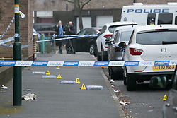© Licensed to London News Pictures. 18/3/2016. Birmingham, UK. The scene in St Marks Street, Ladywood, Birmingham, where a man was shot dead last night. Photo credit : Dave Warren/LNP