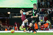 Ryan Shawcross, the Stoke City captain pulls back Mark Noble of West Ham United in the penalty area but no penalty is awarded. Barclays Premier league match, West Ham Utd v Stoke city at the Boleyn Ground, Upton Park  in London on Saturday 12th December 2015.<br /> pic by John Patrick Fletcher, Andrew Orchard sports photography.