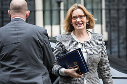 © Licensed to London News Pictures. 14/11/2017. London, UK. Home Secretary Amber Rudd (R) arrives on Downing Street for the weekly Cabinet meeting. Photo credit: Rob Pinney/LNP